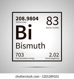 Bismuth chemical element with first ionization energy, atomic mass and electronegativity values ,simple black icon with shadow on gray