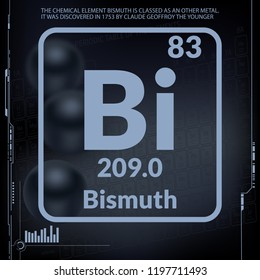 Bismuth symbol.Chemical element of the periodic table on a dark three-dimensional background.Vector illustration.