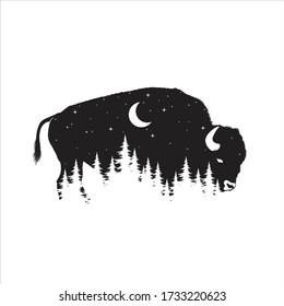 Bison animal illustration, nature conservation vector