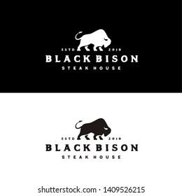 Bison Bull Buffalo Angus Silhouette Steak Vintage Retro Logo design