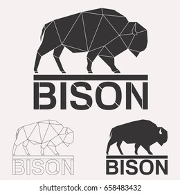 Bison bull cow geometric lines silhouette isolated on white background vintage design element set