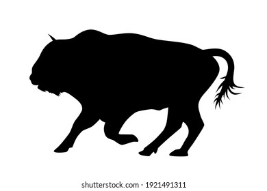 The Bison bull logo is black and white in vector.Bull silhouette, monochrome logo, symbol of the year in the Chinese zodiac calendar.