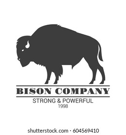 """Bison company"" logo template. Vector black color illustration of american bison, standing in profile. Isolated on white."