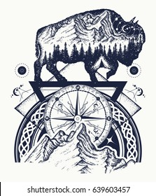 Bison double exposure, mountains, compass, tattoo art. Tourism symbol, adventure, great outdoor. Mountains, compass