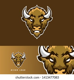 Bison esport gaming mascot logo template, suitable for your team, business, and personal branding