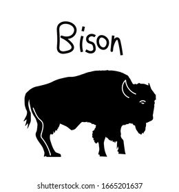 Bison icon silhouette. Illustration of american bison, standing in profile.vector flat iilustration with lettering