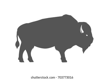 Bison icon silhouette. Bison icon silhouette. Illustration of american bison, standing in profile.