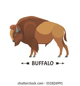 Bison icon. Vector illustration of american bison, standing in profile, in trendy flat style. Isolated on white.