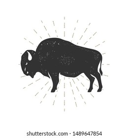 Bison isolated on white. Grunge effect. Vector illustration.