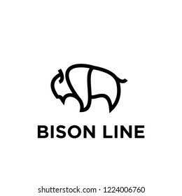 bison line unique animal logo icon designs icon vector
