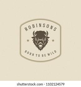 Bison logo design template vector illustration. Buffalo head silhouette retro typography badge emblem.