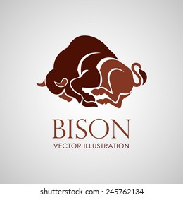 bison logo icon vector on white background