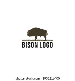 bison logo with bison illustration and using white background