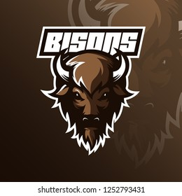 bison logo mascot  design vector with modern illustration concept style for badge, emblem and tshirt printing. bison head illustration.