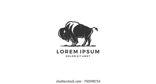 bison logo vector icon vintage handdrawing download