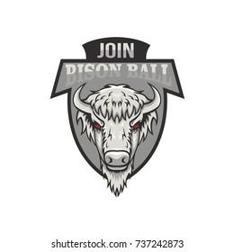 Bison mascot logo design vector illustration