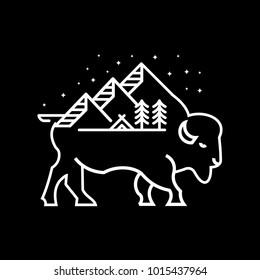 Bison mountain adventure illustrations