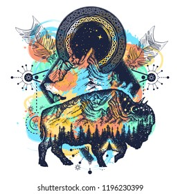 Bison and mountains t-shirt design watercolor splashes style, tattoo. Bison double exposure, mountains, crossed arrows. Tourism symbol, adventure, great outdoor