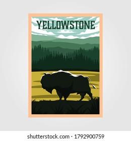 bison on yellowstone national park vintage poster vector illustration, travel poster design