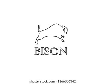bison outline logo icon designs