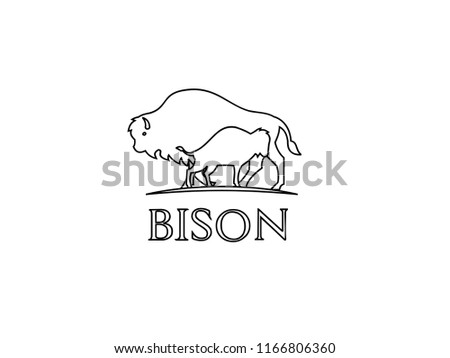 bison outline logo icon designs stock vector royalty free