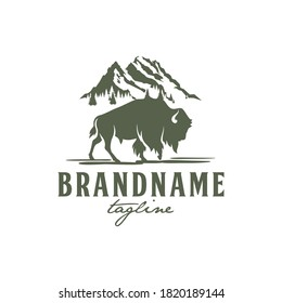 Bison and Rocky Mountain Logo