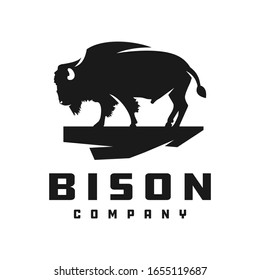 bison silhouette animal logo design