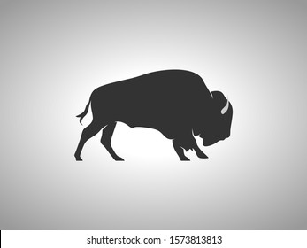 Bison Silhouette on White Background. Isolated Vector Animal