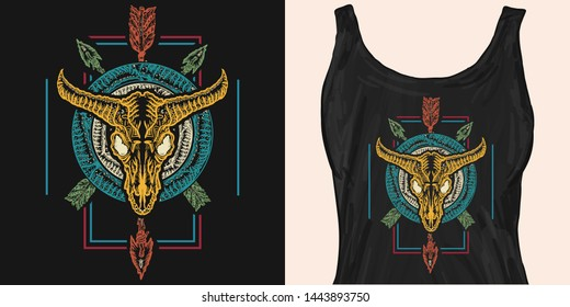 Bison skull and crossed arrows. Native american culture. Wild west apparel design. Template for fashionable clothes, modern print for t-shirts, apparel art