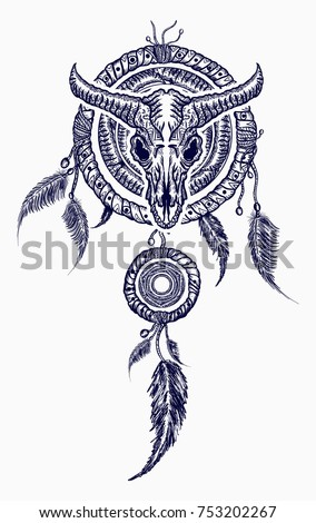 Bison Skull Indian Dream Catcher Tattoo Stock Vector Royalty Free Classy Native Dream Catcher Tattoo