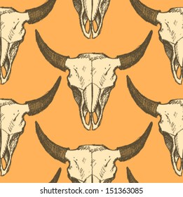 Bison skull, vector seamless pattern in sketch style