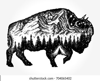 Bison tattoo art. Mountain, forest, night sky. Magic tribal double exposure animals. Buffalo bull travel symbol, adventure tourism