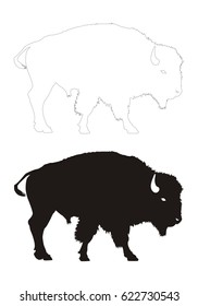 bison vector black silhouette and contour
