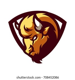 Bison - Vector logo / icon mascot illustration