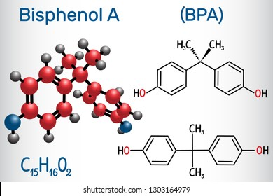 Bisphenol A (BPA) molecule. Structural chemical formula and molecule model. Vector illustration