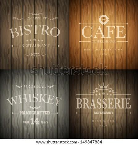 Bistro Cafe Brasserie Whiskey Emblem Templates Image Vectorielle De