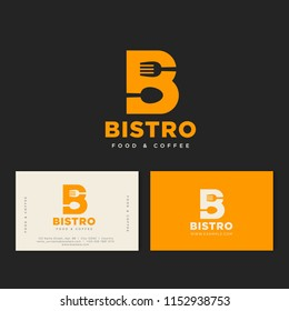 Bistro cafe logo. Yellow B letter with fork and spoon, isolated on a dark background. Identity. Business card.