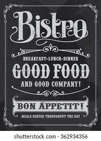 Bistro Chalkboard Poster, vintage vector illustration design