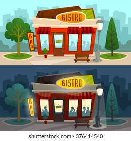 Bistro horizontal banner day and night view / city street background / exterior / building / cafe restaurant diner bar / vector illustration