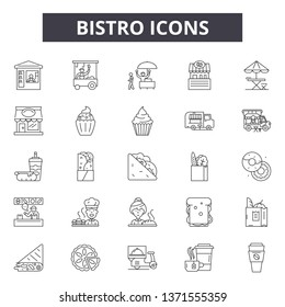 Bistro line icons, signs set, vector. Bistro outline concept, illustration: bistro,food,restaurant,menu,cooking,delunch