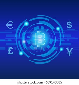 bit coin digital currency futuristic of money
