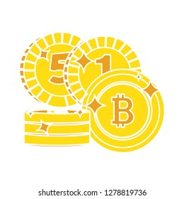 Bit coin icon -savings symbol- coin icon - economy symbol - currency illustration- profit sign - banking vector-earnings sign - rich vector- exchange isolated- income illustration