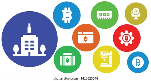 bit icon set. 9 filled bit icons.  Simple modern icons about  - Skyscrapper, Bitcoin, Ram, Drill