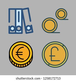 bit icon set. vector set about blinder, coins and coin icons set.