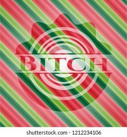 Bitch christmas colors style emblem.