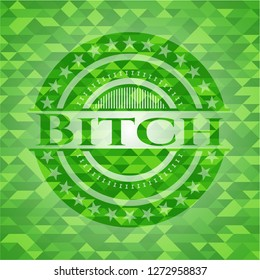 Bitch green emblem with mosaic ecological style background