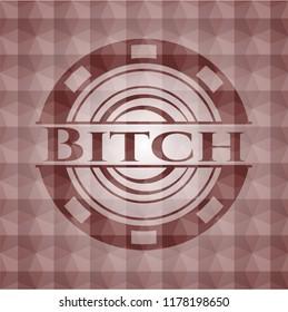 Bitch red geometric emblem. Seamless.