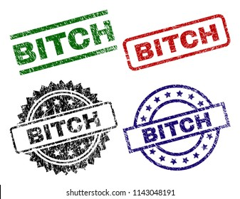 BITCH seal prints with damaged style. Black, green,red,blue vector rubber prints of BITCH caption with dirty style. Rubber seals with circle, rectangle, medal shapes.