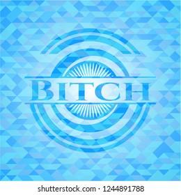 Bitch sky blue emblem. Mosaic background