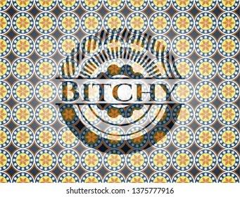 Bitchy arabesque emblem. arabic decoration.
